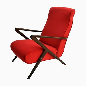 Red Italian Mahogany Lounge Chair, 1950s