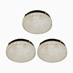 Große Glas Hängeleuchte von N. Leuchten, 1960er