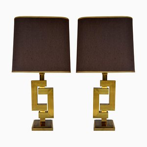 Geometric Brass Table Lamps by Philippe Jean, Set of 2