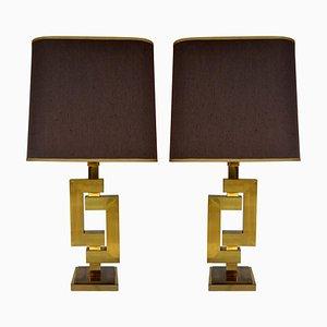 Geometrische Tischlampen aus Messing von Philippe Jean, 2er Set