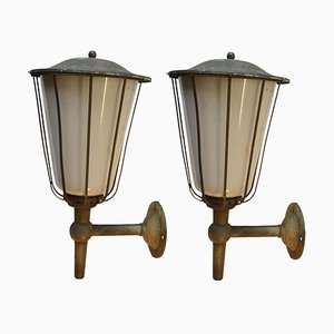 Early 20th Century Large Outdoor Lanterns in Metal and White Glass, France, Set of 2