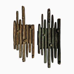 Brutalistische Reiß- und Ziehgriffe aus Bronze, 2er Set