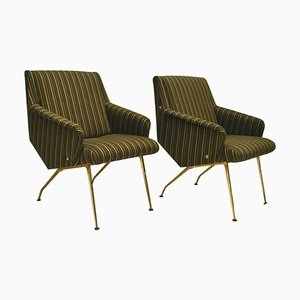 Lounge Chairs in Black and Gold Striped Fabric, 1950s, Set of 2