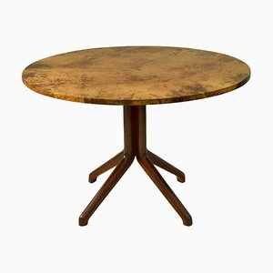 Dining Table with Parchment Top and Ebonized Wood Base by Aldo Tura