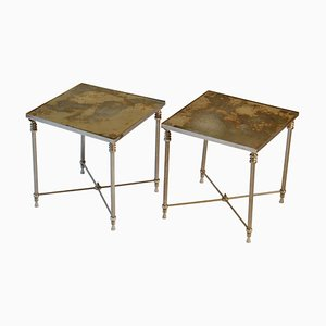 Regency Square Side Tables with Distressed Mirror Tops, Set of 2