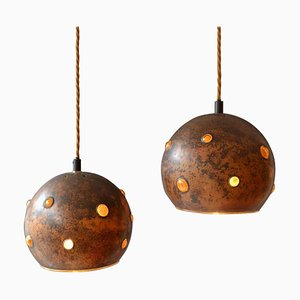 Copper and Yellow Glass Pendant Lamps by Nanny Still, Set of 2