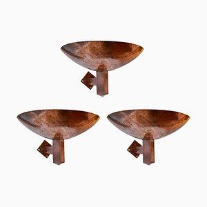 Niederländische Kupfer Wandlampen, 3er Set