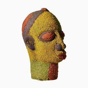 Nigerian Female Head Sculpture in Colored Beads, 1960s