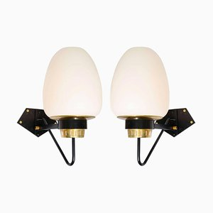 Large Opaline Wall Sconces on Black and Brass Frame, Set of 2