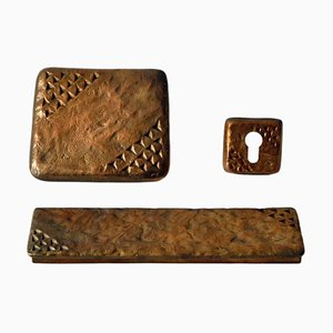 Bronze Push and Pull Door Handle with Letterbox and Key Fixtures, Set of 3