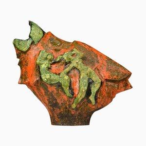 Brutalist Bird Sculpture in Dutch Cobra Style with Dancing Figures