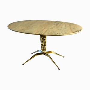 Coffee Table with Oval Marble Top on Bronze Base Attributed to Duilio Barnabé