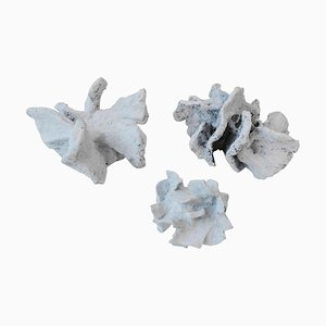 Abstract Sculpture in Chalk White Ceramic by Bryan Blow, Set of 3