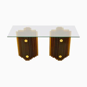 Amber Glass Console Table by Cristal Arte, Italy, 1970s