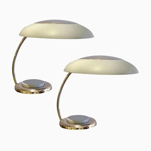 Grey and Nickel Metal Desk Lamps in Bauhaus Style, Set of 2