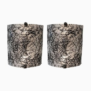 Murano Black and Clear Glass Wall Sconces by De Majo, Set of 2
