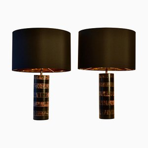 Marble Cylinder Table Lamps in Pink and Black, 1970s, France, Set of 2