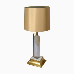 Lucite and Brass Italian Table Lamp with Silk Lamp Shade, 1960s
