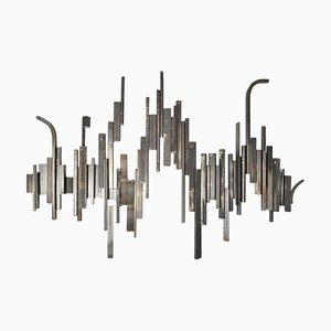 Brutalistische abstrakte geometrische Relief aus Metall