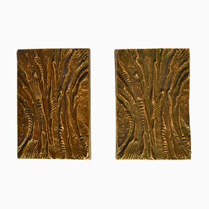 Bronze Rectangular Push and Pull Door Handles with Curved Relief, Set of 2