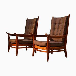Mahogany Lounge Chairs by Bas Van Pelt, The Netherlands, Set of 2