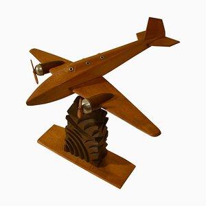 Wooden Airplane Model Sculpture, 1950s