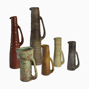 Mid-Century Studio Vasen aus Keramik in gedeckten Farben, 6er Set