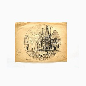 Unknown, The Church, Pen and Pencil Drawing, Early 20th Century