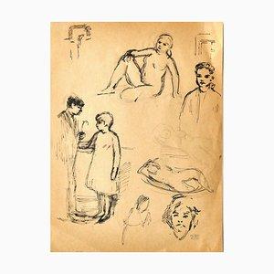 Jacques Hirtz, Figures, Pen Drawing, Mid-20th Century