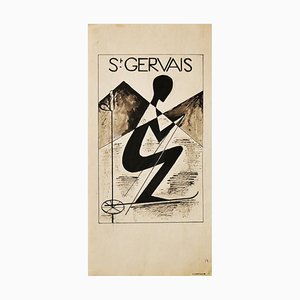 C. Lartigue, St. Gervais, Aquarell und China Tinte, Frühes 20. Jahrhundert
