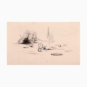 Scultoreo, In The Attic, Pen Drawing, fine XIX secolo
