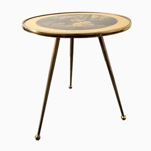 Italian Brass Tripod Side Table with Printed Top, 1950s