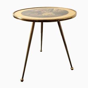 Italienischer Messing Dreibein Beistelltisch mit Bedruckter Tischplatte, 1950er