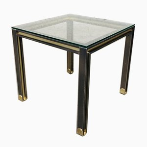 Steel and Brass Square Coffee Table, Belgium, 1980s