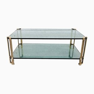 Large Vintage MCM Glass and Brass Side Table by Peter Ghyczy