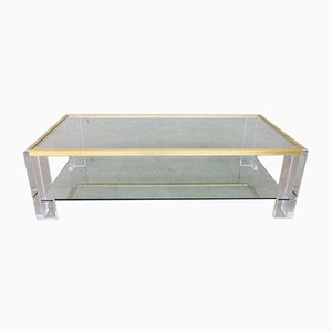 2-Level Brass and Lucite Coffee Table, 1970s