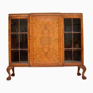 Queen Anne Style Burr Walnut Bookcase , 1920s