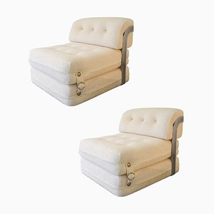 Italian Cream Bouclé Lounge Chairs in the style of Azucena, 1970s, Set of 2