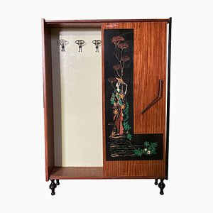 Mid-Century Coat Rack Cabinet With Chinoiserie Decor