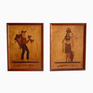 Marquetry Inlaid Works by Pietro Francesco, 1930s, Set of 2
