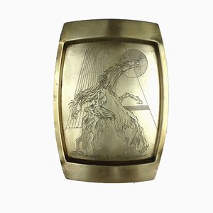 Mid-Century Brass Horse Tray by Remo Bombardieri