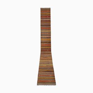 Vintage Hand Woven Striped Runner Carpet, 1970s