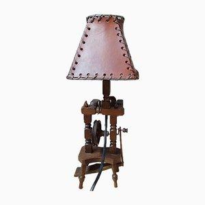Mid-Century Spinning Wheel Table Lamp