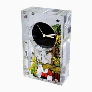 Italian Plexiglas Clock by Aldo Lanciano, 1980s