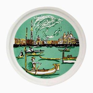 Italian Ceramic Plate by Remo Brindisi for Centro D'Arte Mercurio Milano, 1970s