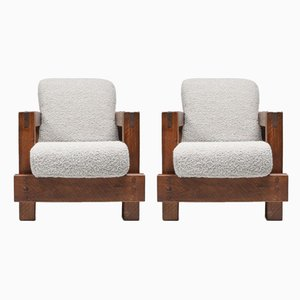Rustic Modern Primitive Lounge Chairs in Bouclé by Pierre Frey, 1960s, Set of 2
