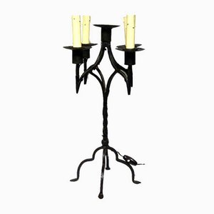 Antique Wrought Iron Candle Holder Table Lamp