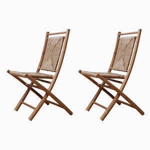 Mid-Century Bamboo and Rush Foldable Chairs, 1960s, Set of 2
