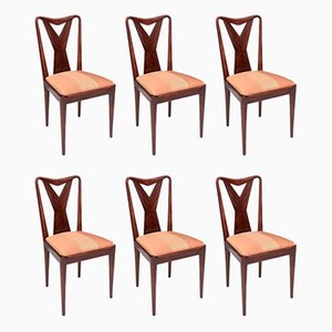 Mahogany Dining Chairs in the style of Ice Parisi, 1950s, Set of 6
