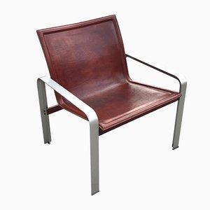 Leder und Aluminium Sessel von Jacques Toussaint & Patrizia Angeloni für Mateo Grassi, 1970er
